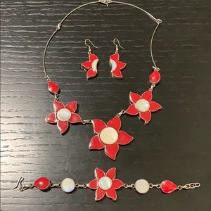 Necklace, earrings and bracelet - double-sided!!